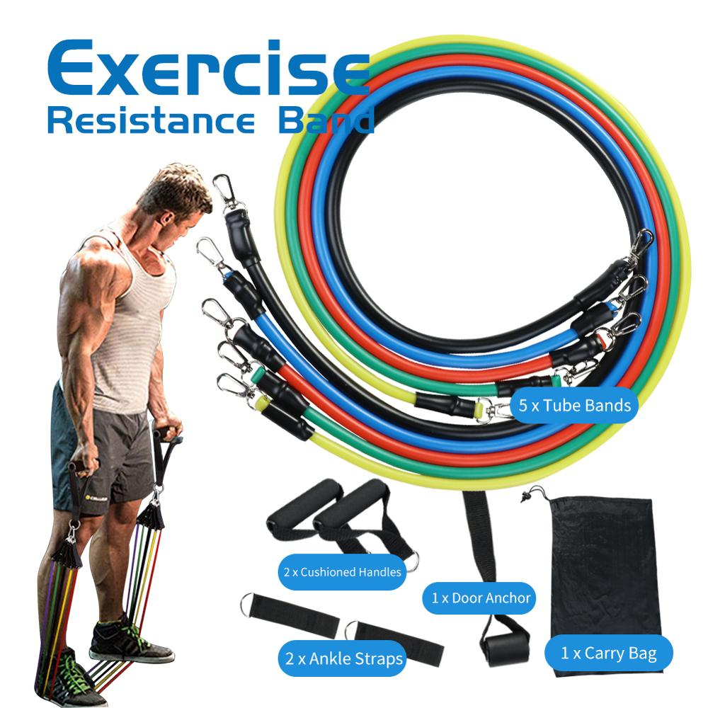 11PCS Resistance Bands Tube Set Stretch Training Rubber Expander Tubes Pilates Fitness 4 Tubes Latex Foot Elastic Pull Rope