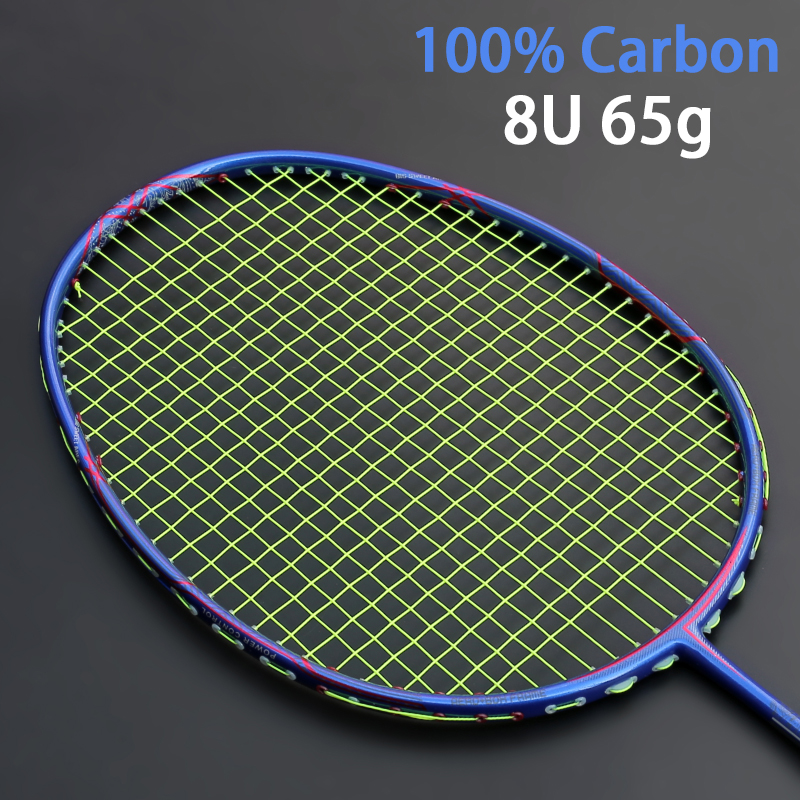 Ultralight 8U 65-67g Carbon Badminton Racket Professional Offensive Type Rackets With Strings Bags 22-30LBS Racquets Padel