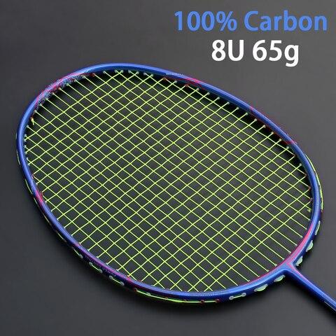 Raquete de Badminton de Carbono Profissional tipo Ofensivo Raquetes com Cordas Ultraleve Bolsas Raquetes Padel 8u 65-67g 22-30lbs