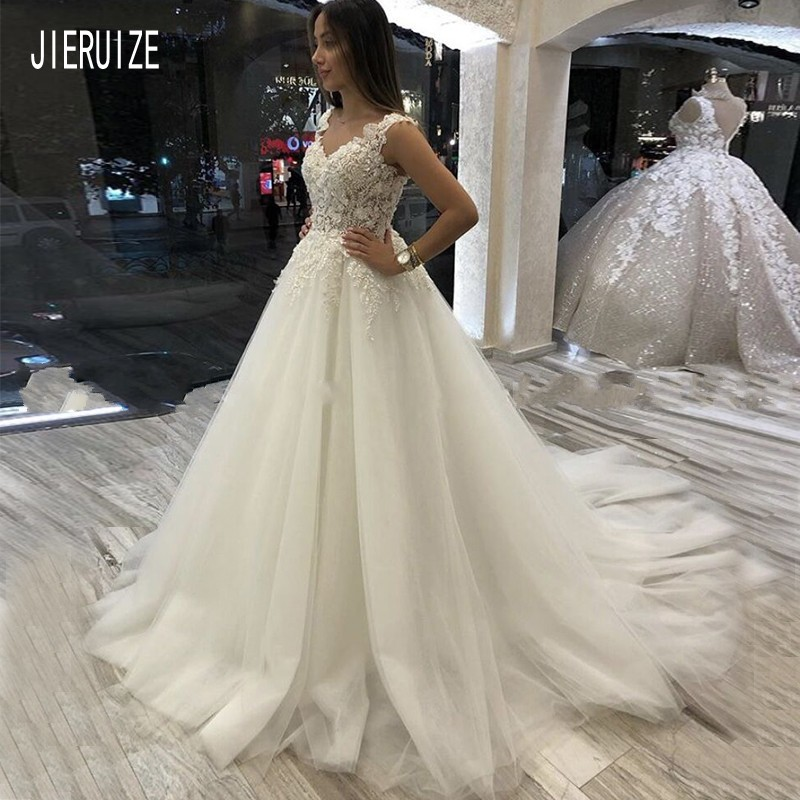 JIERUIZE Glamorous White Wedding Dresses V-neck Appliques Tulle Bride Gowns Lace Up Back Ivory Wedding Gowns robe de mariee