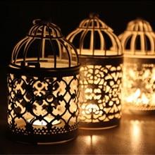 1 pieza de candelabro hueco candelabro linterna colgante jaula de pájaro Vintage forjado decorativo farol marroquí candelero # T2
