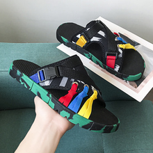 2020 New Man Beach Casual Shoes Black Man Soft Slippers Outside Men Slippers Mens Slides Shoes Cotton Fabric Beach Slippers Men 2020 summer cool rhinestones slippers for male gold black loafers half slippers anti slip men casual shoes flats slippers wolf