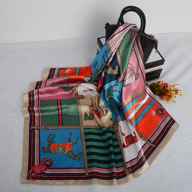 Silk Scarves Women Foulard 90*90cm Square head scarf Ladies Shawl wrap muffler pareo Bandanna female chiffon hijab poncho wool 2