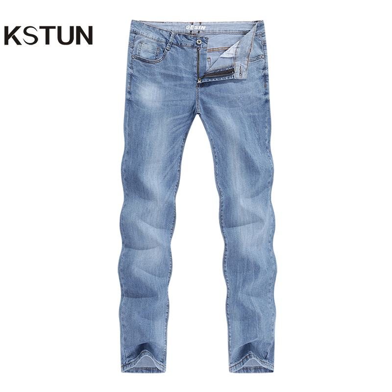 2020 Jeans Men Fashion Business Casual Straight Slim Fit Ultrathin Breathable Stretch Light Blue Summer Denim Pants Jeans Male