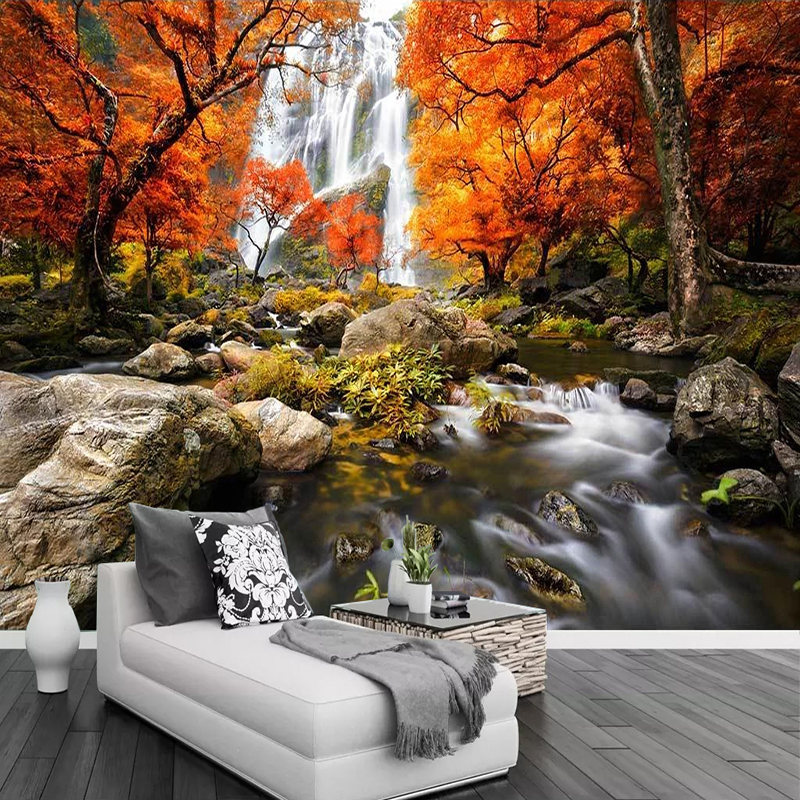 Waterfall Nature Landscape Large Wall Painting Custom Photo Wallpaper For Living Room Sofa TV Background Papier Peint Mural 3D