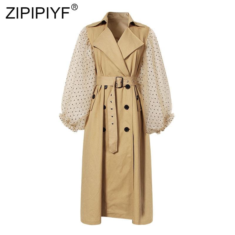 2019 Runway Fashion Women Long Coat Half Puff Sleeve Overcoat Loose Outwear Female Winter Autumn Trench Coats Plus Size Q09