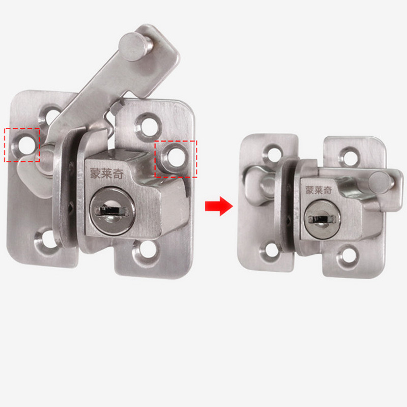 New Style 201 Stainless steel door locks door latch bolt with key,For sliding door,Surface mounting,Hardware Locks