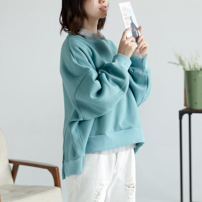 Fashion Nice Women Batwing Sleeve Casual Sweatshirts Long Sleeve Split Plus Size Pullover O-Neck Blue Loose Hoodies