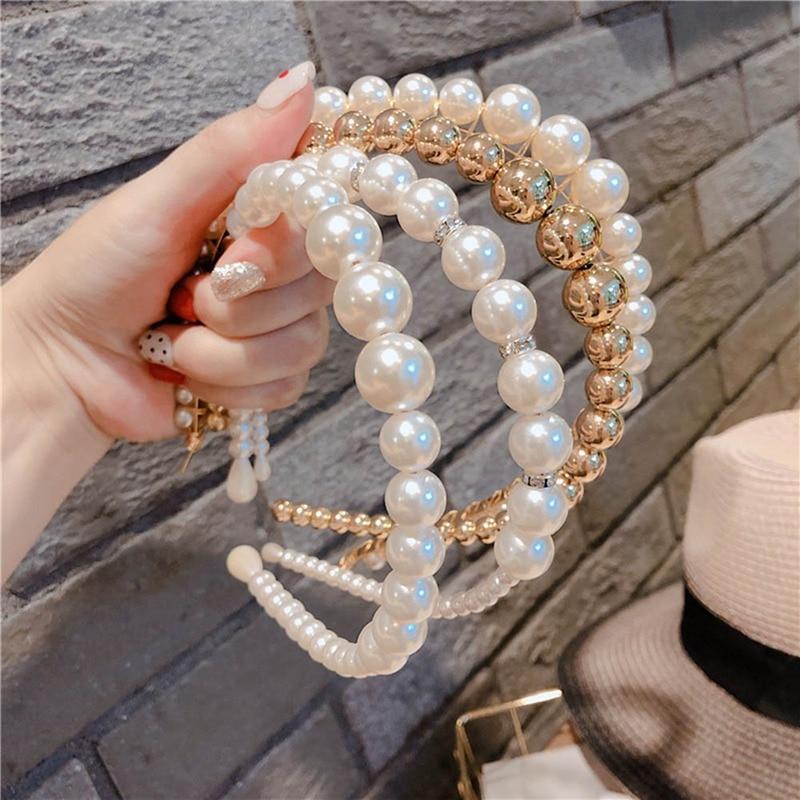 Trendy Luxury Big Pearl Headband For Women Elegant Headband Wild Personality Fashion Bezel Turban Girls Hair Headdress