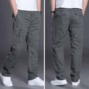 Image 3 - קיץ סתיו אופנה גברים מכנסיים מקרית כותנה מכנסיים ארוכים ישר רצים Homme בתוספת גודל 5xl 6xl שטוח מכנסיים לגברים בגדים