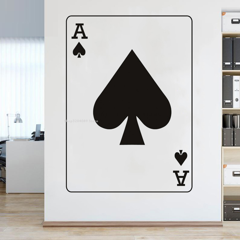 Ace Of Spades Card Games Wall Sticker Home decor Sofa background Headboard bedroom wallpaper Poker Chess Room Art mural DG371(China)