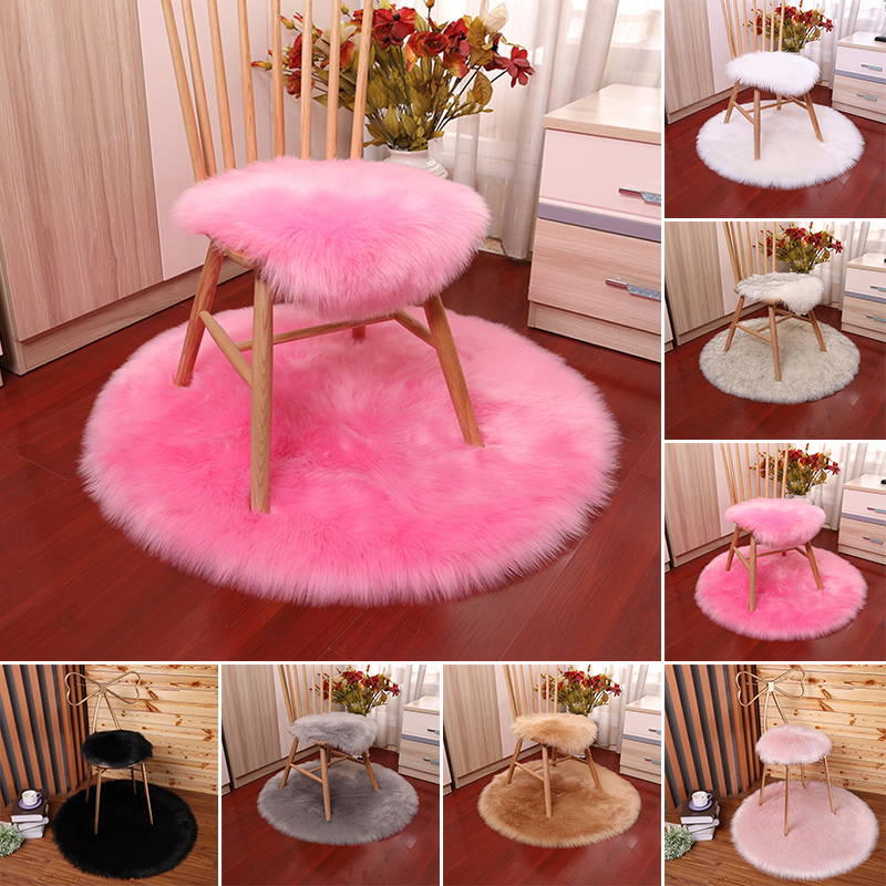 Round Blanket Sofa Mat Bedroom Soft Fluffy Wool Faux Fur Sheepskin Chairs Seat Cushion Shaggy Area Living Room
