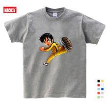 Для мальчиков и девочек Брюс Ли футболка с принтом из мультфильма;