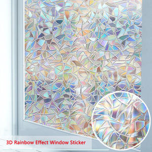 LUCKYYJ Window Privacy Film , 3D Decorative Glass Film Removable Self Adhesive Glass Sticker Static Cling Window Paper