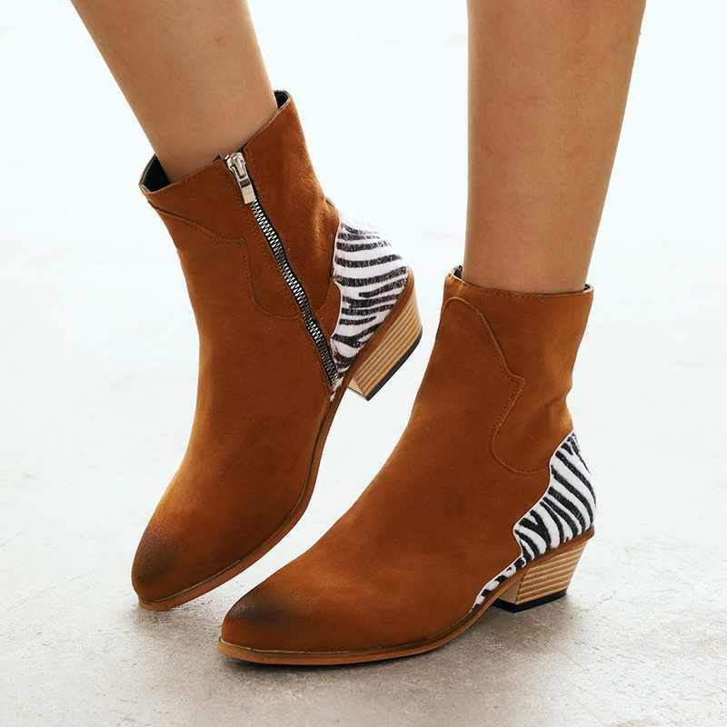 MoneRffi Women Shoes 2019 Sexy Leopard Pointed Toe Ankle Boots Zipper Zebra pattern Deep Flat Heel boots Lady Shoes Women Boots