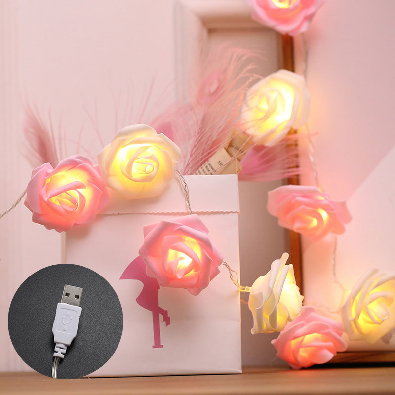 3M 20led USB Charging LED Rose Flower Garland String Light Fairy Wedding Party Christmas Holiday Valentine Decoration Bulbs Lamp