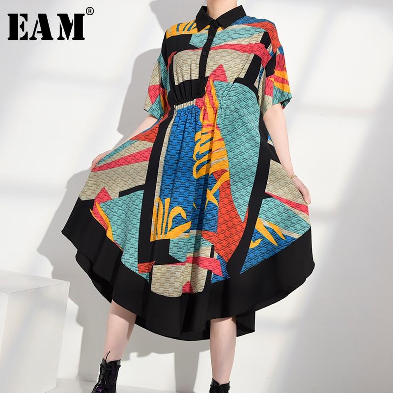 [EAM] Women Pattern Printed Irregular Shirt Dress New Lapel Short Sleeve Loose Fit Fashion Tide Spring Summer 2020 1W33905