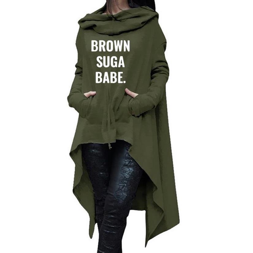 Braun Suga Babe Buchstaben Druck Hoodies Für Frauen Lange Unregelmäßige Sweatshirts Selbst Tops Hoodies Frauen Harajuku Frauen Plus Größe