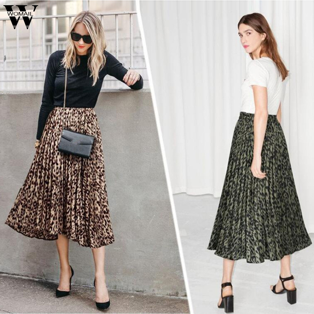 Womail Women Skirt Fashion Leopard Casual Pleated Long Skirt Layered Party Ladies Elastic Waist Skirt Evening Dance Skirt Beach