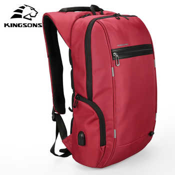 Kingsons Men Backpacks 13'' 15'' 17'' Laptop Backpack USB Charger Bag Anti-theft Backpack for Teenager Fashion Male Travel - DISCOUNT ITEM  40% OFF All Category