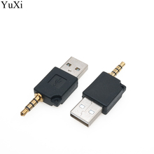 цена на YuXi 4 Pole 3.5mm to USB 2.0 Male Aux Auxiliary Adapter For Apple iPod Shuffle 1st 2nd MP3