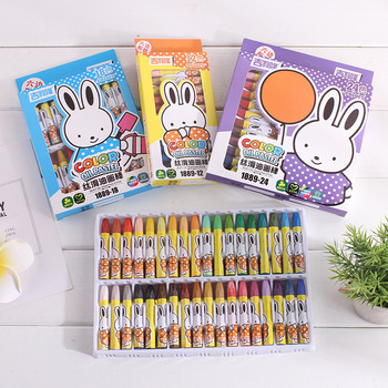 Kawaii boxed oil pastel hexagonal crayon cartoon children silky oil pastel pastel environmental protection crayons цена 2017