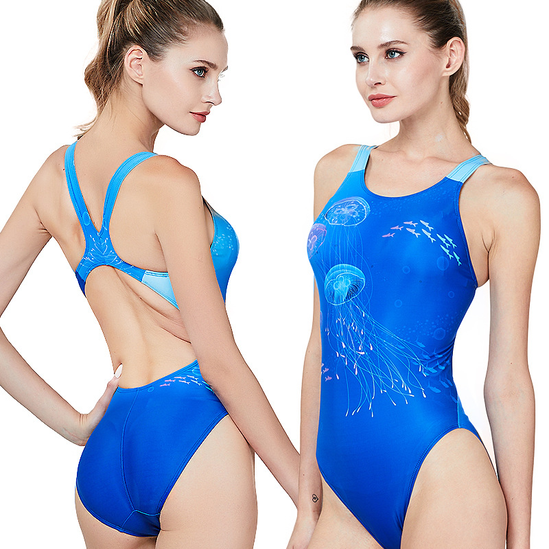 High Quality Women One-piece Sports Swimsuit Competition Type Female Triangle Swimsuit Digital Printing for Swimming training(China)
