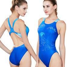 Maiô esportivo feminino, roupa de banho de alta qualidade, tipo competição, triangular, impressão digital para treinamento de natação