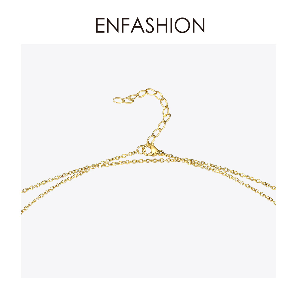 Image 4 - ENFASHION Geometric Hollow Chain Choker Necklace Women Gold Color Stainless Steel Long Necklace Fashion Femme Jewelry P193060Chain Necklaces   -