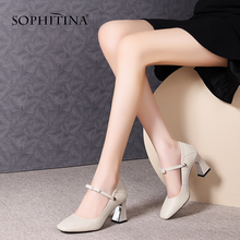 Women's Shoes SOPHITINA Pumps Thick Heels Square Toe Office Large-Size Casual New-Fashion