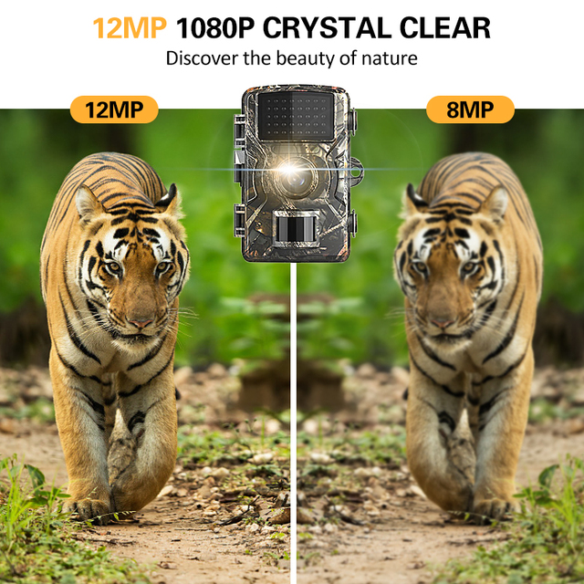 Trail Camera 12MP 1080P Game Hunting Cameras with Night Vision Waterproof 2 Inch LCD LEDs Night Vision Deer Cam Design