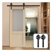 Riel colgante para puerta de granero de 152CM/183CM/200CM, herrajes deslizantes de color negro rústico para puerta de madera de armario de rueda grande