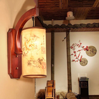 Retro Chinese wall lamp antique Wood stair aisle corridor bedroom living room cafe sconce YHJ011823