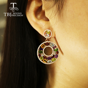 Image 5 - Tbj Big luxury Party Gemstone Earring,20ct Multi colorful gemstone c earring 925 sterling silver rose gold fine jewelry women