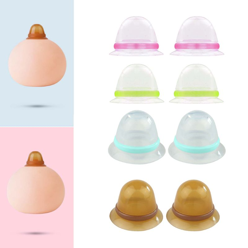 2 Pcs Silicone Nipple Corrector For Flat Inverted Nipples Silicone Nipple Aspirator Breastfeeding Aid Maternity Supplies