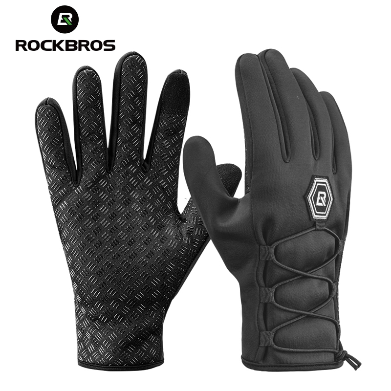 ROCKBROS Men Gloves Touch-Screen Motorcycle Riding Full-Finger-Bike Autumn Winter Windproof
