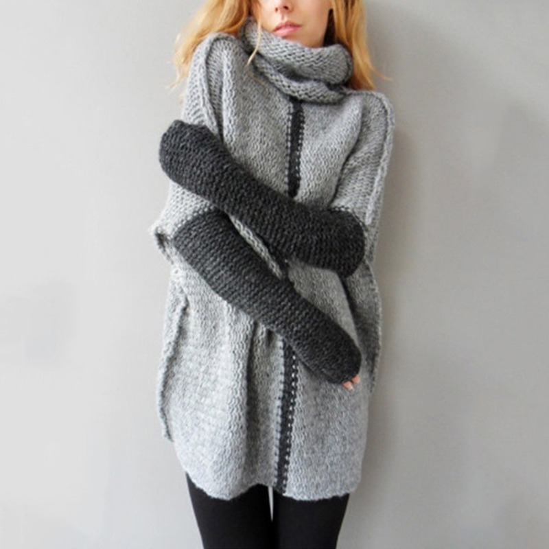Autumn Winter European American Women Long Sweaters High-collar Thick Sweater Loose Large Size Knitted MY19047