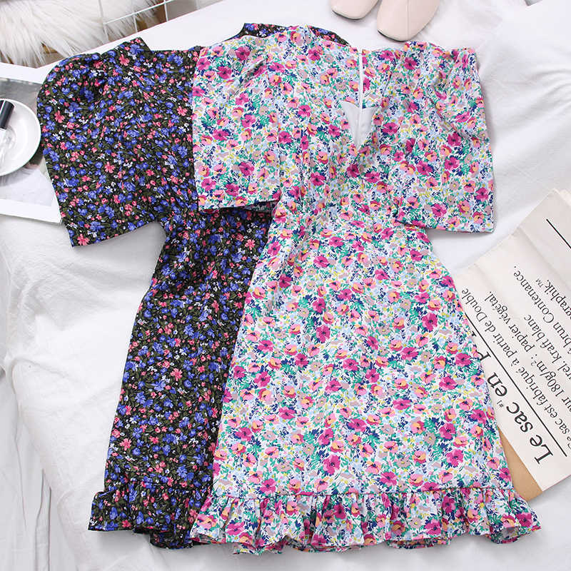 Women Chic Chiffon Dress Fashion Puff Sleeve High Waist Floral Ladies Dress Summer V-Neck Ruffles Mini Female Holiday Dresses