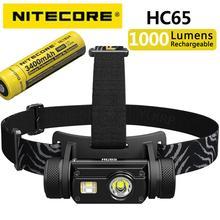 Оригинальная фара Nitecore HC65, 3400 лм, тройной выход, внутренняя фара, водонепроницаемый фонарик с батареей 18650 мАч