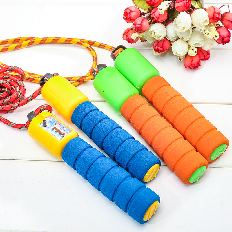 Students Sports Adult Children Machinery Count Jump Rope Foam Rubber Grip Pattern Tiaoshen Rope Aerobic Sports Jump Rope