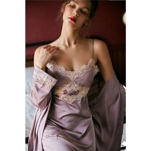 Image 2 - JULYS SONG 2020 Womens New Faux Silk 2 Piece Pajamas set  Ladies Lace Sexy Summer Spring Sling Nightgown Robe Home wear