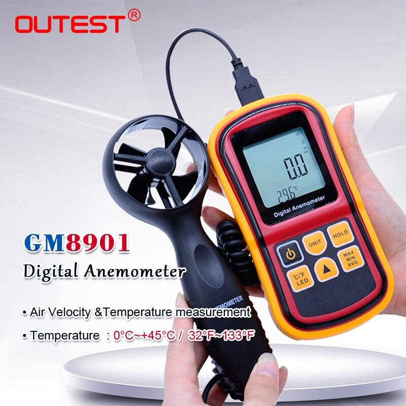 GM8901 Handheld Digital LCD Wind Speed Meter Anemometer Air Flow ...