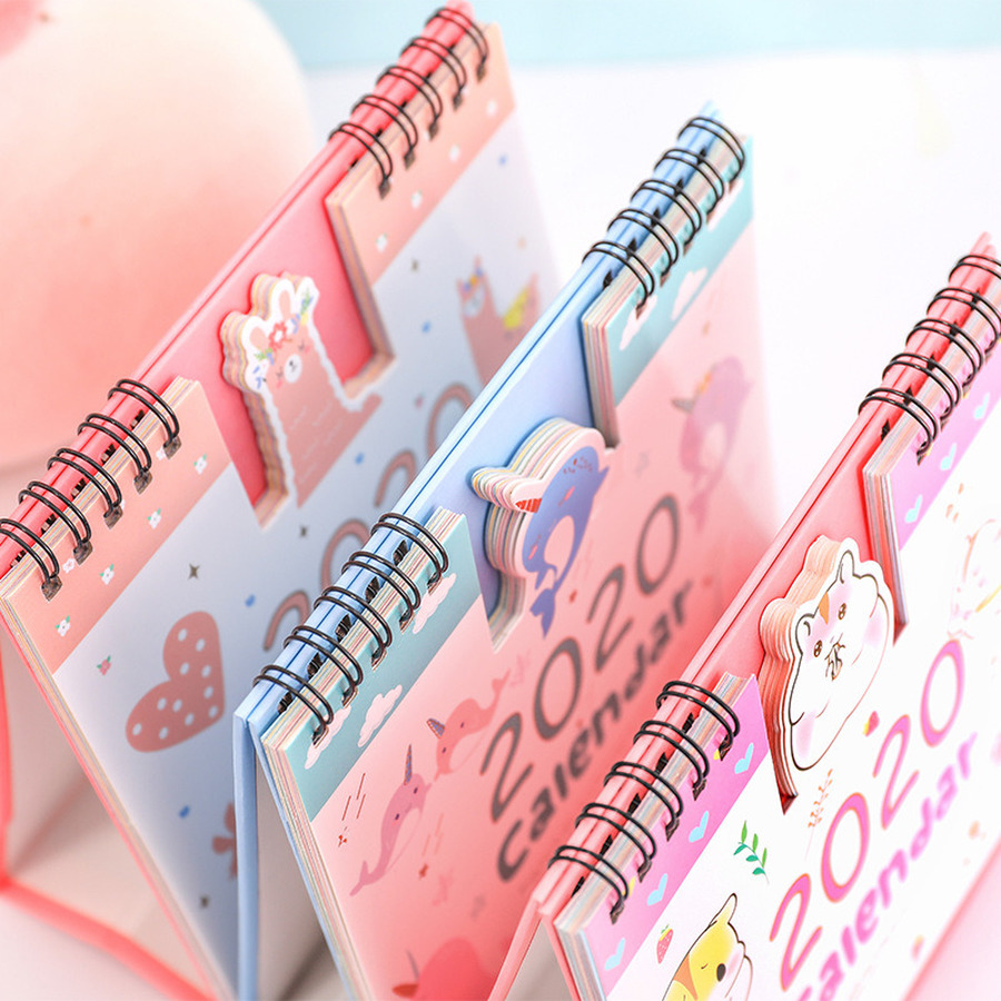 2020 Year Calendar Cute Unicorn Cat Claw Desktop Daily Scheduler Hamster Rabbit Mini Desk Calendario Yearly Agenda