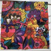 Vintage peçete kağıt zarif doku sevimli soyut hayvan aslan kedi çiçek dekupaj düğün çocuk doğum günü partisi peçete dekor