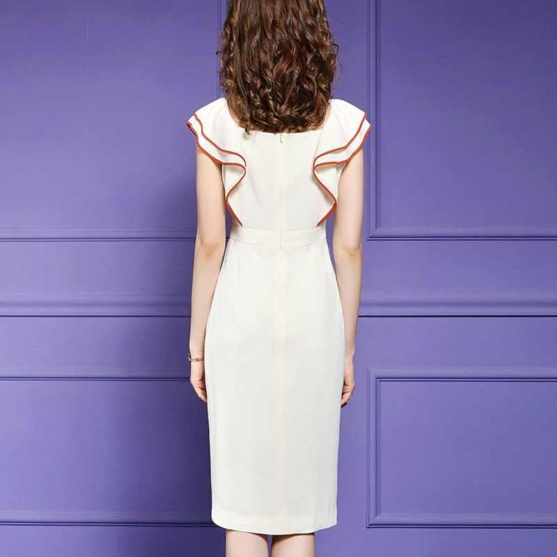 Vestido de tubo de oficina de señora s XXXL 2019 nuevos vestidos de pasarela de verano ropa de mujer sexy Fiesta Club elegante celebridades volantes vestido