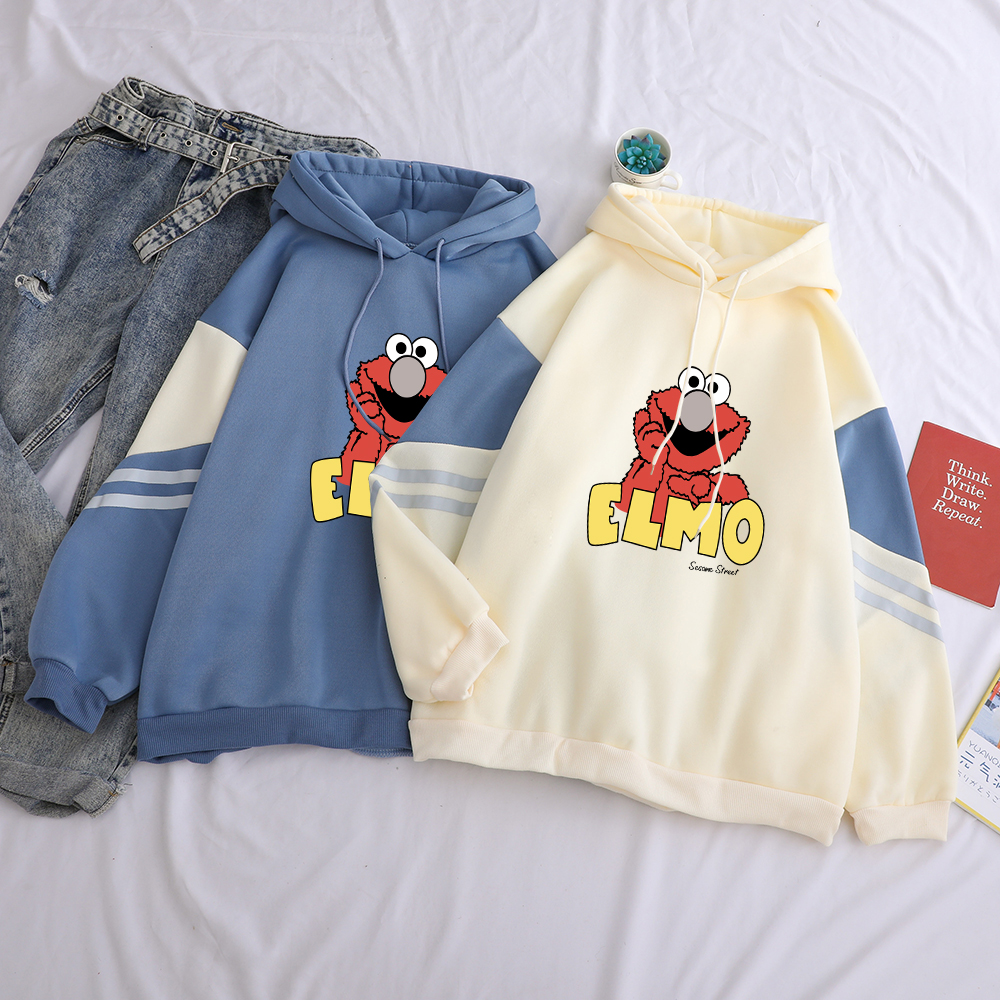 Sesame Street Women's Elmo Print Hooded Sweatshirt Casual Hoodies Fleece Top Funny  Autumn Streetwear Solid Female Clothes