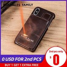 Iphone × レザーケース磁気 iphone 5 × 本革カバー coque fundas カードスロット保護カバー