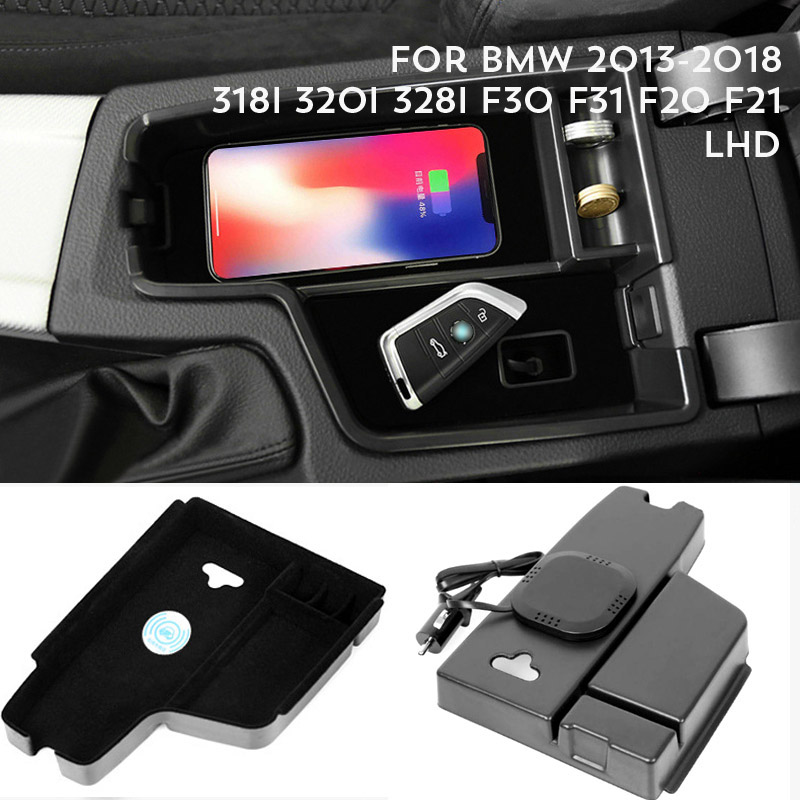 1lot Mobile Phone Wireless Charging Central Armrest Storage Box For 2013-2018 BMW 318I 320i 328i F30 F31 F20 F21