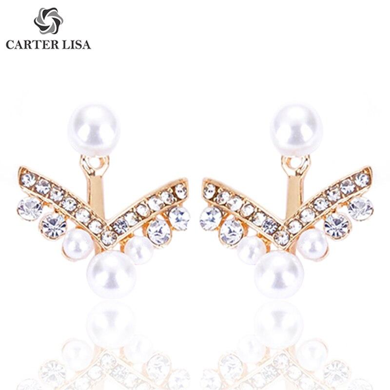 Carter Lisa Luxuary Female Rhinestone Pearl Silver Metal Arrow Stud Earings For Women Boho Fashion Jewelry Pendientes Brinco