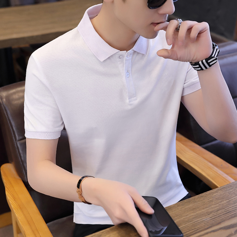 Summer Men's Cotton Short-sleeved Pure-color   Polo   Shirt
